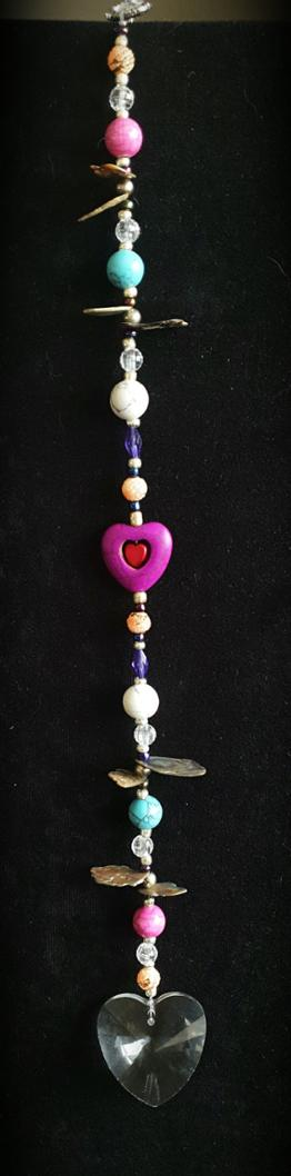 Gemstone Hearts - Suncatcher with gemstones howlite, turquoise, pink agate and beads.